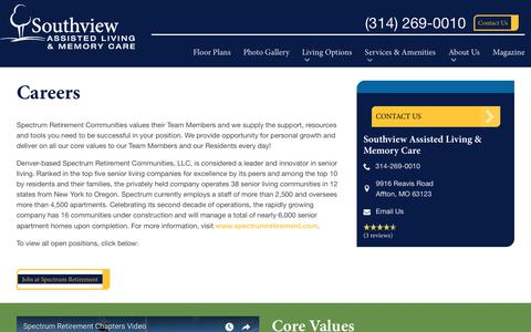 Screenshot of Jobs Page spectrumretirement.com - Careers At Southview Assisted Living & Memory Care - captured Jan. 31, 2018