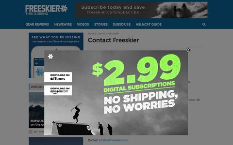 Screenshot of Contact Page freeskier.com - Contact Freeskier - Freeskier - captured Aug. 3, 2015