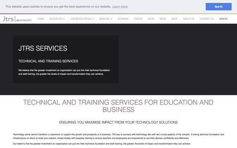 Screenshot of Services Page jtrs.co.uk - Services | Technical training support - captured Oct. 13, 2018