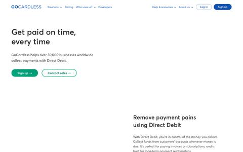 Screenshot of Home Page gocardless.com - The easiest way to collect recurring payments - GoCardless - captured Jan. 14, 2018