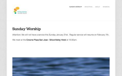 Screenshot of Home Page livingstonescc.com - Living Stones Christian Church - captured Jan. 30, 2016