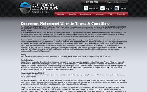Screenshot of Terms Page emsport.net - Terms & Conditions - captured Oct. 2, 2014