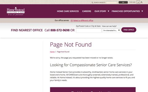 Screenshot of Press Page homeinstead.com - Page Not Found - captured May 25, 2018