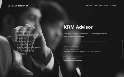 Screenshot of About Page Privacy Page Terms Page Team Page estoniancompanyregistration.com - Contacts | Company in Estonia | KRM ADVISOR - captured Oct. 19, 2018