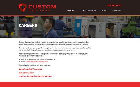 Screenshot of Jobs Page customcastings.com - Careers - Custom Castings - captured Nov. 12, 2016