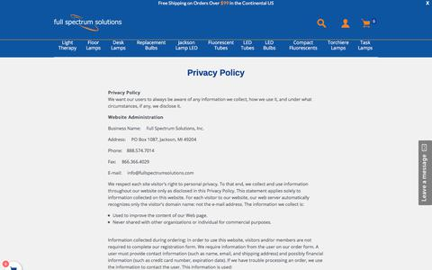 Screenshot of Privacy Page fullspectrumsolutions.com - Privacy Policy                 – Full Spectrum Solutions, Inc. - captured Sept. 28, 2017