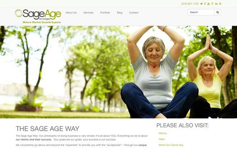 Screenshot of About Page sageagestrategies.com - The Sage Age Way | Sage Age Strategies - captured Oct. 29, 2014