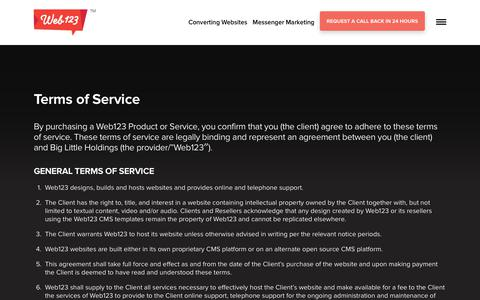 Screenshot of Terms Page web123.com.au - Terms of Service | Web123 - captured July 22, 2019