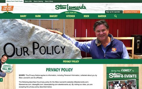 Screenshot of Privacy Page stewleonards.com - Privacy Policy   Stew Leonard's - captured Nov. 17, 2016