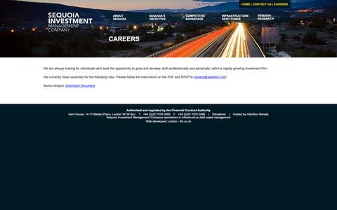 Screenshot of Jobs Page seqimco.com - Contact Sequoia Investment Management | Investment Company | Investment | Investment Management | Investment - captured Dec. 20, 2018