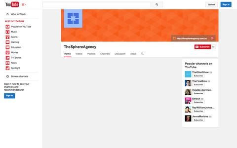 Screenshot of YouTube Page youtube.com - TheSphereAgency  - YouTube - captured Oct. 25, 2014