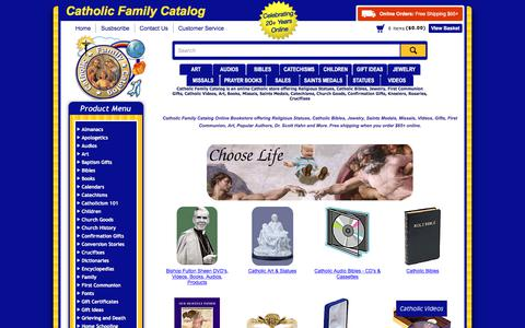 Screenshot of Home Page catholicfamilycatalog.com - Catholic Catalog Bookstore Offering Religious Statues, Bibles, Jewelry, Videos & Gifts - captured July 1, 2018