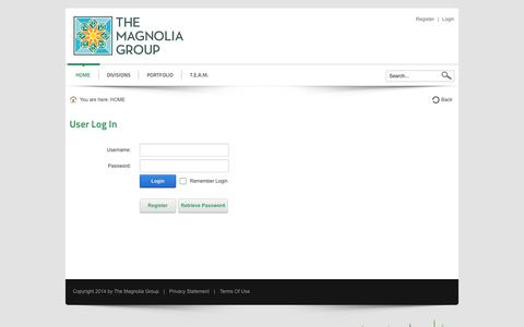 Screenshot of Login Page magnoliascape.com - User Log In - captured Oct. 6, 2014