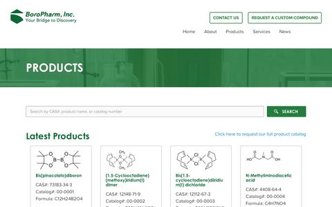 Screenshot of Products Page boropharm.com - Products - Boro PharmBoro Pharm - captured Feb. 8, 2016