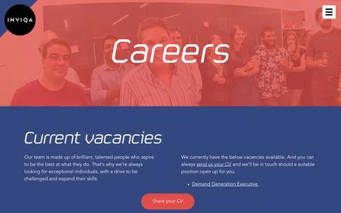 Screenshot of Jobs Page inviqa.com - Careers | Inviqa - captured June 8, 2017