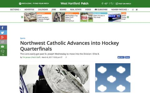 Screenshot of patch.com - Northwest Catholic Advances into Hockey Quarterfinals - West Hartford, CT Patch - captured March 9, 2017