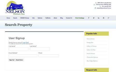 Screenshot of Signup Page nelsonhomesva.com - Search Property | Nelson Homes | Nelson Homes Inc Modular Homes in Virginia - captured Oct. 26, 2014