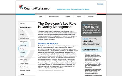 Screenshot of Developers Page quality-works.net - Quality Works for Developers-Quality-Works.NET - Integrating Project Workflow, Knowledge + Quality Management - captured Oct. 2, 2014