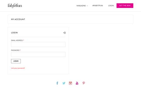 Screenshot of Login Page fabfitfun.com - My Account - FabFitFun - captured Aug. 3, 2016