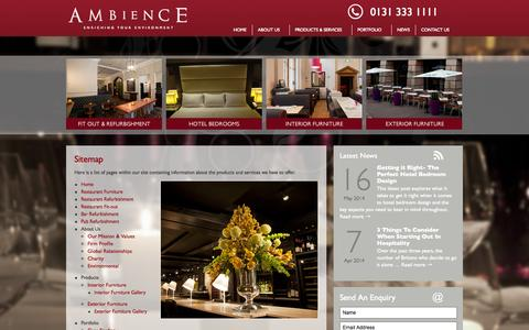Screenshot of Site Map Page ambiencedesigns.co.uk - Sitemap - Ambience Designs - captured Sept. 30, 2014
