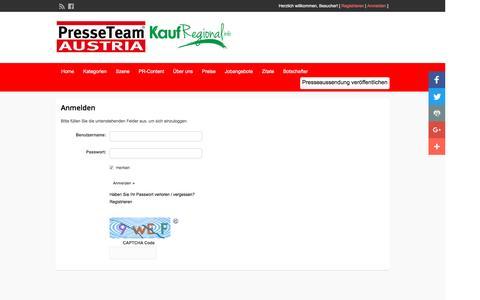Screenshot of Login Page presseteamaustria.at - Login - Presseteam Austria - captured Jan. 19, 2017