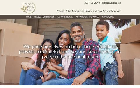 Screenshot of Home Page pearceplus.com - Pearce Plus Services LLC, National & International Relocation and Senior Services - captured Nov. 4, 2018