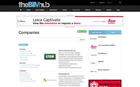 Screenshot of Developers Page thebimhub.com - Developers   Companies   The BIM Hub - captured Feb. 23, 2016