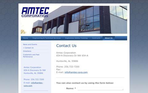 Screenshot of Contact Page amtec-corp.com - Amtec Corporation - Contact Us - captured Feb. 6, 2016