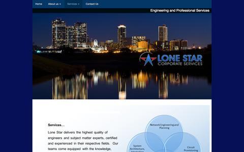 Screenshot of Services Page lonestar-cs.com captured Nov. 2, 2014