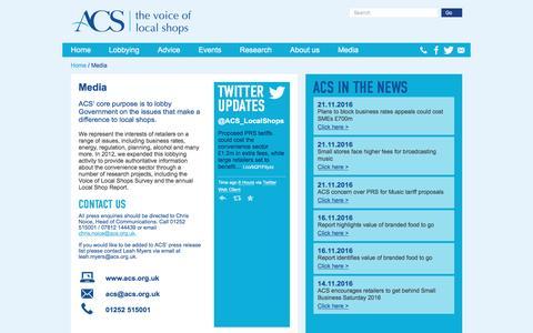 Screenshot of Press Page acs.org.uk - Media | ACS - captured Nov. 21, 2016
