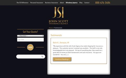 Screenshot of Testimonials Page johnscottinsurance.com - Testimonials | John Scott Insurance Agency - captured Oct. 6, 2014