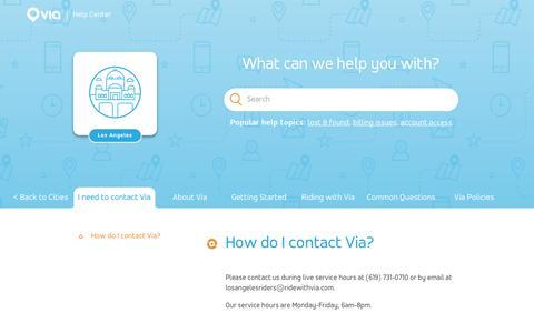 Screenshot of Support Page ridewithvia.com - How do I contact Via? – Via - captured May 6, 2019