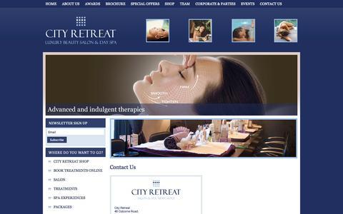 Screenshot of Contact Page city-retreat.com - Contact Us | Spa Newcastle | City Retreat - captured Oct. 2, 2014