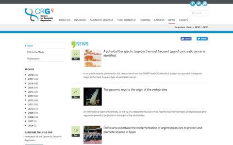 Screenshot of Press Page crg.eu - NEWS   crg - captured Nov. 23, 2018
