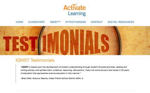Screenshot of Testimonials Page activatelearning.com - Testimonials — Activate Learning | Leaders in K-8 Science Curriculum - captured Dec. 27, 2016