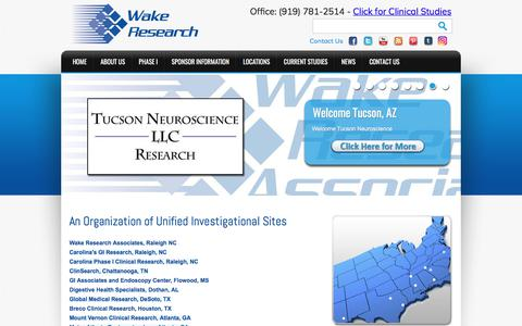 Screenshot of Home Page wakeresearch.com - Wake Research Associates: NC Clinical Research, Trials & Studies - captured July 15, 2017