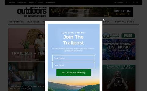 Screenshot of Home Page blueridgeoutdoors.com - Blue Ridge Outdoors | Outdoor Adventure Magazine - captured Sept. 28, 2018