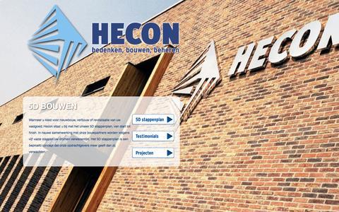 Screenshot of Home Page hecongroep.nl - Hecon - bedenken bouwen beheren - captured Oct. 2, 2014