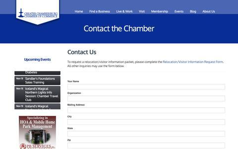 Screenshot of Contact Page chambersburg.org - Contact Us - Greater Chambersburg Chamber of Commerce - captured Nov. 11, 2018