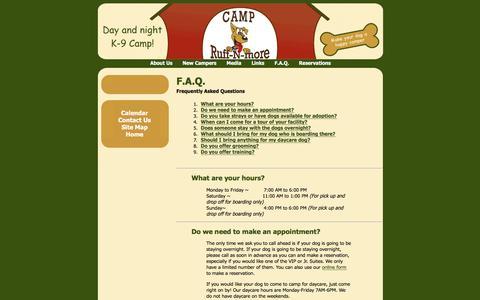 Screenshot of FAQ Page campruffnmore.com - F.A.Q. - captured Oct. 20, 2016