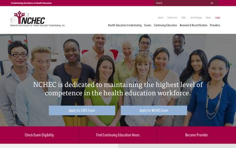 Screenshot of Home Page nchec.org - NCHEC: Enhancing the Practice of Health Education - captured Jan. 16, 2016