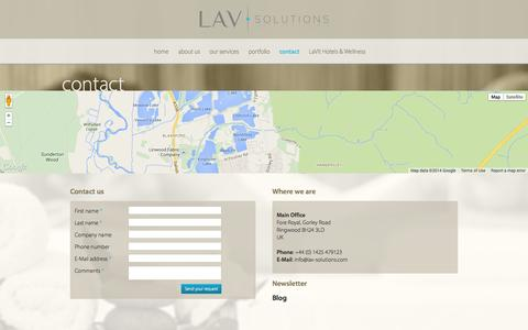 Screenshot of Contact Page lav-solutions.com - How to contact LAV solutions - captured Oct. 1, 2014