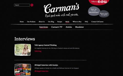 Screenshot of Press Page carmanskitchen.com.au - Interviews - Carman's Kitchen - Real Food Made With Real Passion - captured Oct. 2, 2014