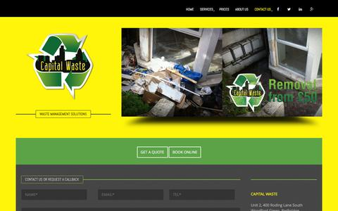 Screenshot of Contact Page capwaste.co.uk - Waste Clearance | Rubbish Removal | Contact Us | Waste Capital London - captured Jan. 25, 2016