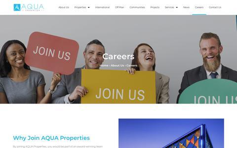 Screenshot of Jobs Page aquaproperties.com - Careers - Aqua Properties - captured Aug. 18, 2019