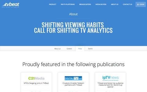 Screenshot of Press Page tvbeat.com - TVbeat - Next Generation TV Analytics - captured Sept. 17, 2014