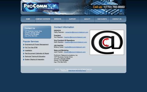 Screenshot of Contact Page ptinc.org - ProComm Telecommunications, Inc. - Contact Information - captured Jan. 31, 2016