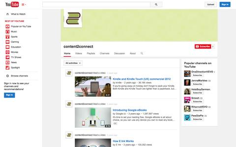 Screenshot of YouTube Page youtube.com - content2connect  - YouTube - captured Oct. 26, 2014