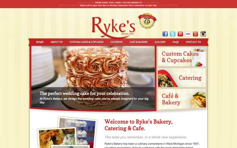 Screenshot of Home Page rykes.com - Ryke's Bakery, Catering, & Cafe - Muskegon, MI Ryke's Bakery, Catering, & Cafe - captured Oct. 18, 2018