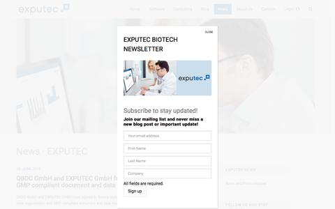 Screenshot of Press Page exputec.com - News · EXPUTEC - captured July 23, 2018